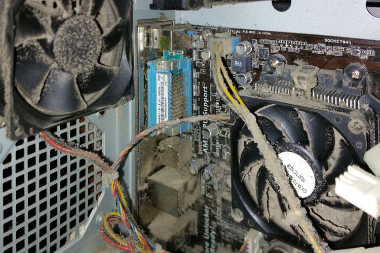 PC encrassé par la poussière